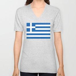Flag of Greece, High Quality image Unisex V-Neck