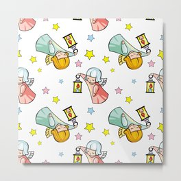 Pattern with little angels  Metal Print