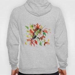 Hummingbird and Red Flowers, bird floral decor Hoody
