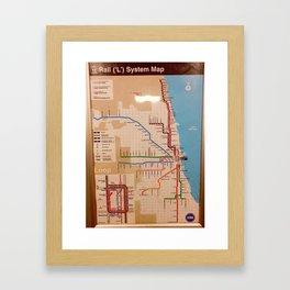 My beloved Chicago cta map Framed Art Print