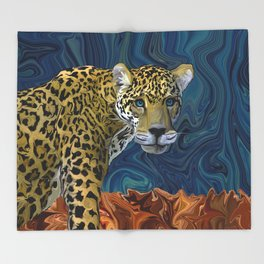 Leopard with the Sky in His Eyes Throw Blanket
