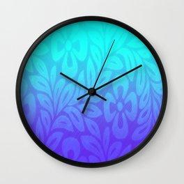 Japanese Floral Pattern Violet Aqua Ombre Wall Clock