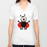ladybug V-neck T-shirts featuring Ladybug by Digital-Art