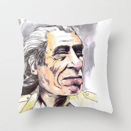 Charles Bukowski portrait in watercolor and ballpoint by McHank Throw Pillow