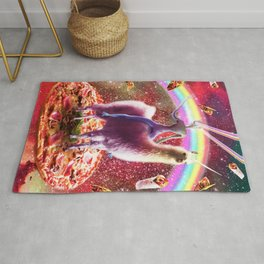 Laser Eyes Outer Space Alien Riding Llama Unicorn Rug