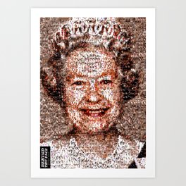 BEHIND THE FACE Queen Elizabeth   drunk and pregnant girls Art Print