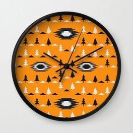 Pine trees- ethnic pattern Wall Clock