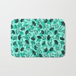 Ginkgo Biloba linocut pattern MINT GREEN Bath Mat