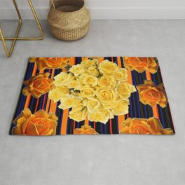 GOLDEN & YELLOW ROSES DARK STRIPES ART Rug