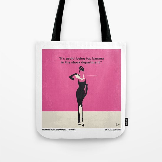 No204 My Breakfast at Tiffanys minimal movie poster Tote Bag