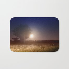 Full moon rising with stars landscape Bath Mat