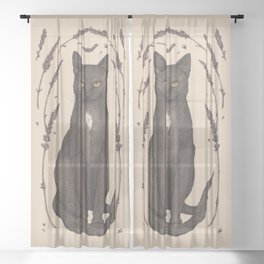 The Cat and Lavender Sheer Curtain