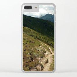narrow hiking path alps serfaus fiss ladis tyrol austria europe Clear iPhone Case