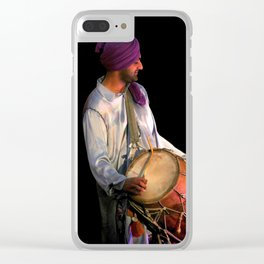 Dhol Drummer in traditional Punjabi dress Clear iPhone Case