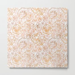 Gold Florals on Pink Marble Metal Print