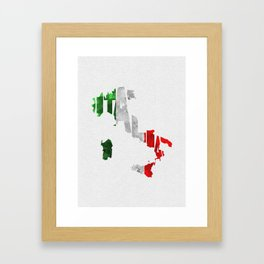 Italia Typographic Flag Map Art Framed Art Print