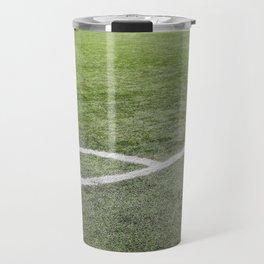 Corner football field, Corner chalk mark artificial grass soccer field Travel Mug