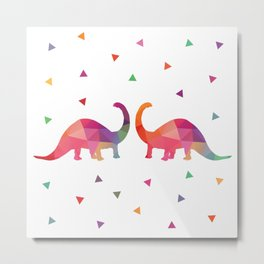 Geometric Dinosaurs Metal Print