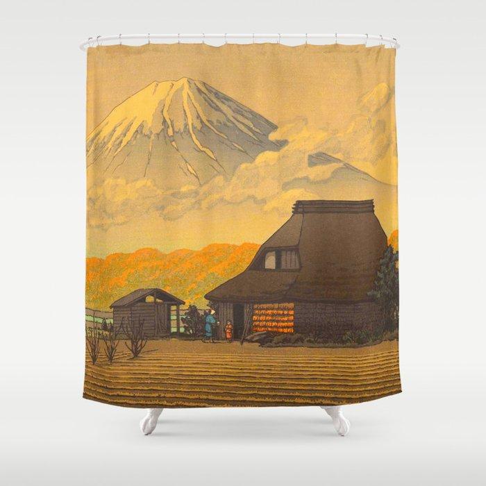 Vintage Japanese Woodblock Print Sepia Farm Mount Fuji Farmer Shower Curtain