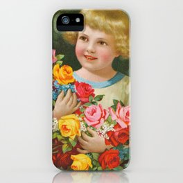 Child with roses | Kind mit Rosenstrauss iPhone Case