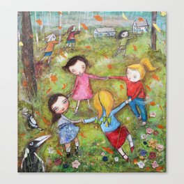 Autumn Mistral, playing ring-a-ring-a-rosie on a windy day Canvas Print