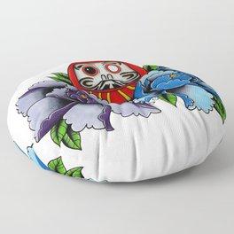 Daruma Doll Peony Flowers Tattoo Floor Pillow