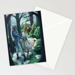 The Dance of Winter and Spring Stationery Cards