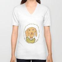 dachshund V-neck T-shirts featuring Dachshund by MariyArti