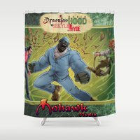 robin hood Shower Curtains featuring DRACULA VS. ROBIN HOOD VS. JEKYLL & HYDE! by Eco Comics