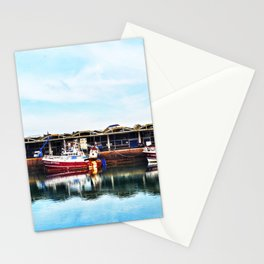 3 Boats in Dieppe Harbour Stationery Cards