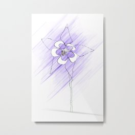 Minimal Nature Purple - Columbine w.Stem Metal Print