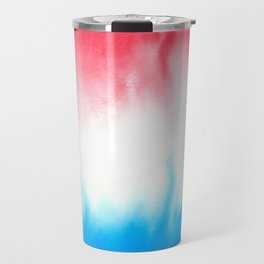 Red White and Blue Flowing Watercolors Travel Mug