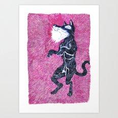 Black Dog Rampage Art Print