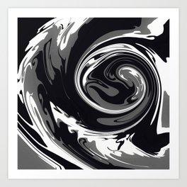 HURRICANE black white and grey swirl abstract design Art Print