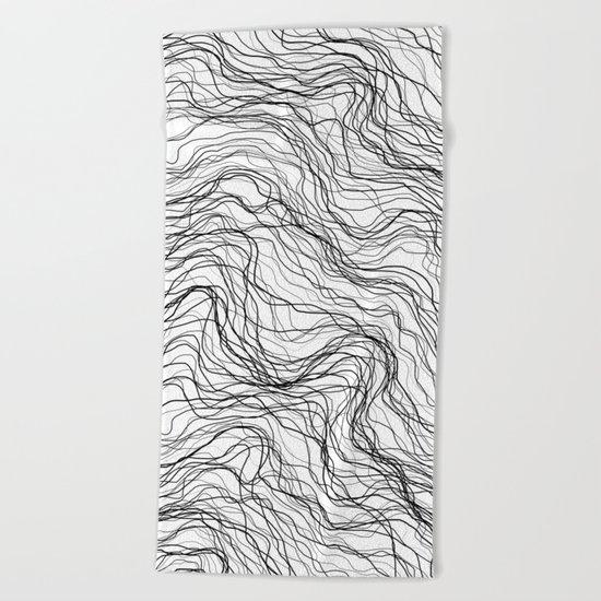 Black veins Beach Towel
