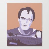 quentin tarantino Canvas Prints featuring Quentin Tarantino by Fanny Öqvist Westerberg