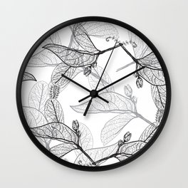 Leaves contours on a white background. floral seamless pattern, hand-drawn Wall Clock