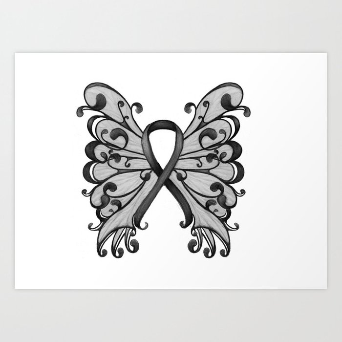 Cancer Ribbon Black with Butterfly Wings - Melanoma Art Print
