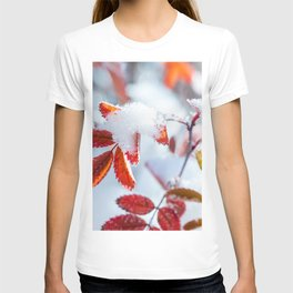 Snowy Fall Leaves // Frozen Fall Colors T-shirt