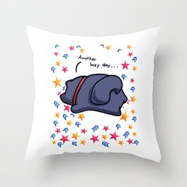 lazy cat chilling star Throw Pillow