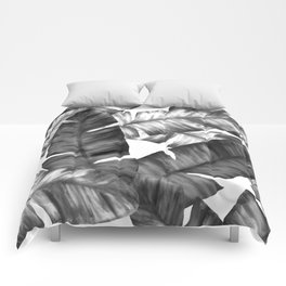 Black And White Tropical Banana Leaves Pattern Comforters