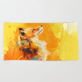 Blissful Light - Fox portrait Beach Towel