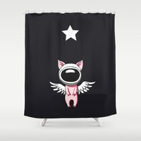 piglet Shower Curtains featuring Piglet in Space by Freeminds
