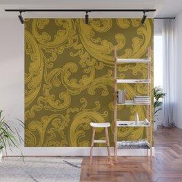 Retro Chic Swirl Lemon Curry Wall Mural