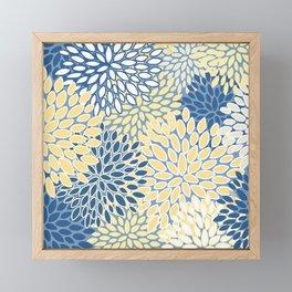 Modern, Flowers Print, Yellow, Blue and White Framed Mini Art Print