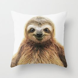 Young Sloth Throw Pillow