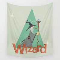 wizard Wall Tapestries featuring Grey Wizard by O'Banion Art