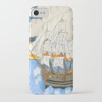 pirate ship iPhone & iPod Cases featuring Pirate Ship At Sea by J&C Creations