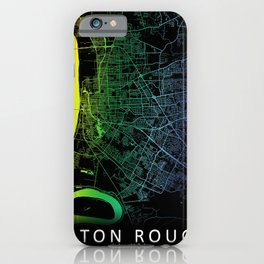 Baton Rouge, LA, USA, City, Map, Rainbow, Map, Art, Print iPhone Case
