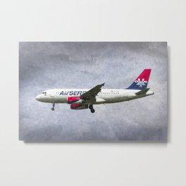 Air serbia Airbus A319 Art Metal Print